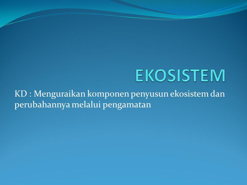 EKOSISTEM KD : Menguraikan komponen penyusun ekosistem dan perubahannya melalui pengamatan