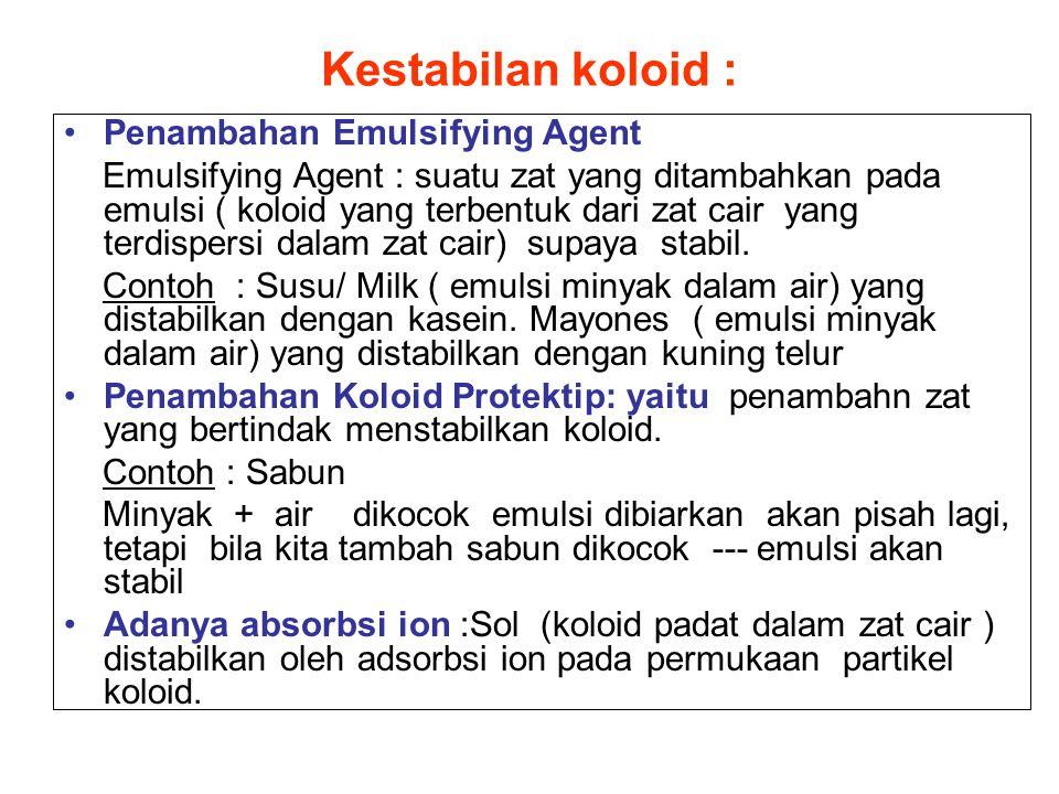 Kestabilan koloid : Penambahan Emulsifying Agent