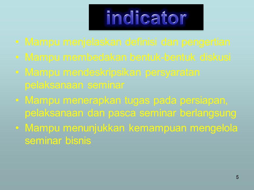 indicator Mampu menjelaskan definisi dan pengertian