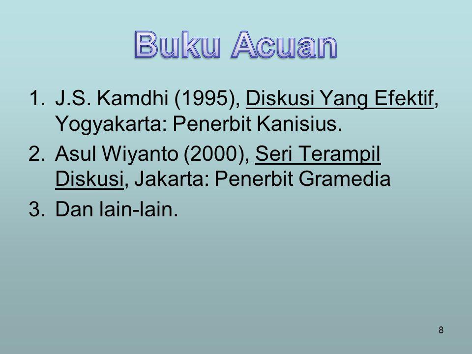 Buku Acuan J.S. Kamdhi (1995), Diskusi Yang Efektif, Yogyakarta: Penerbit Kanisius.