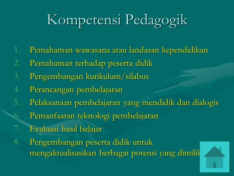Kompetensi Pedagogik Pemahaman wawasana atau landasan kependidikan