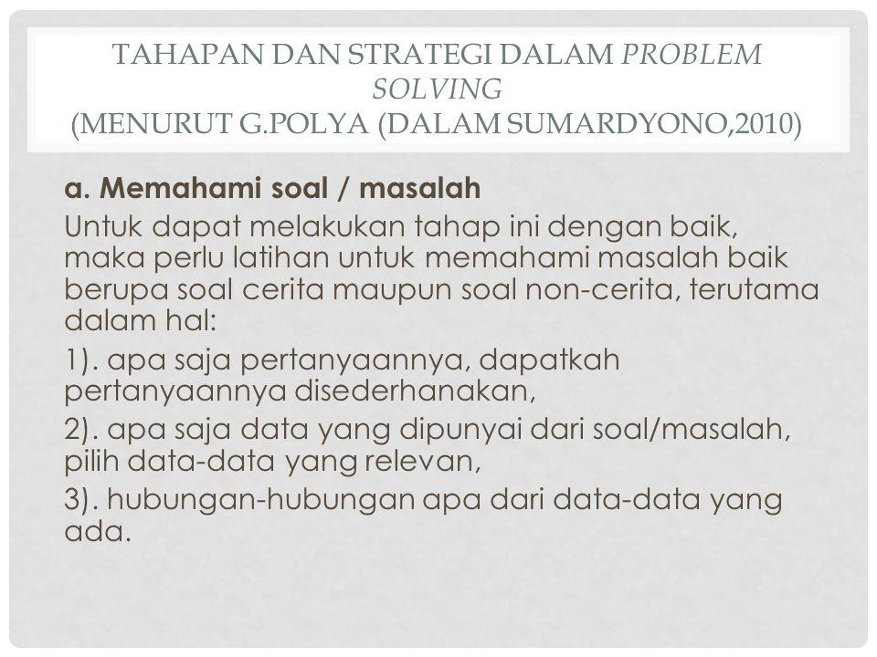 Tahapan dan Strategi dalam Problem Solving (Menurut G