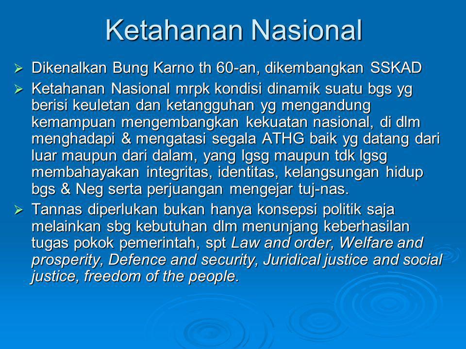 Ketahanan Nasional Dikenalkan Bung Karno th 60-an, dikembangkan SSKAD