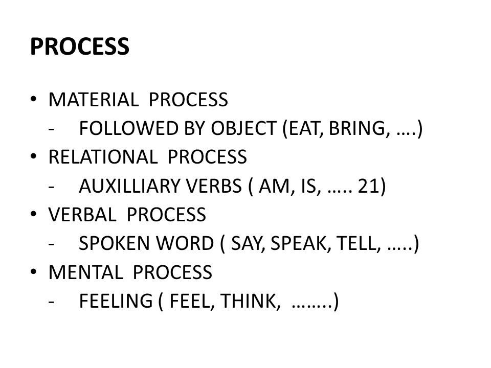 PROCESS MATERIAL PROCESS - FOLLOWED BY OBJECT (EAT, BRING, ….)