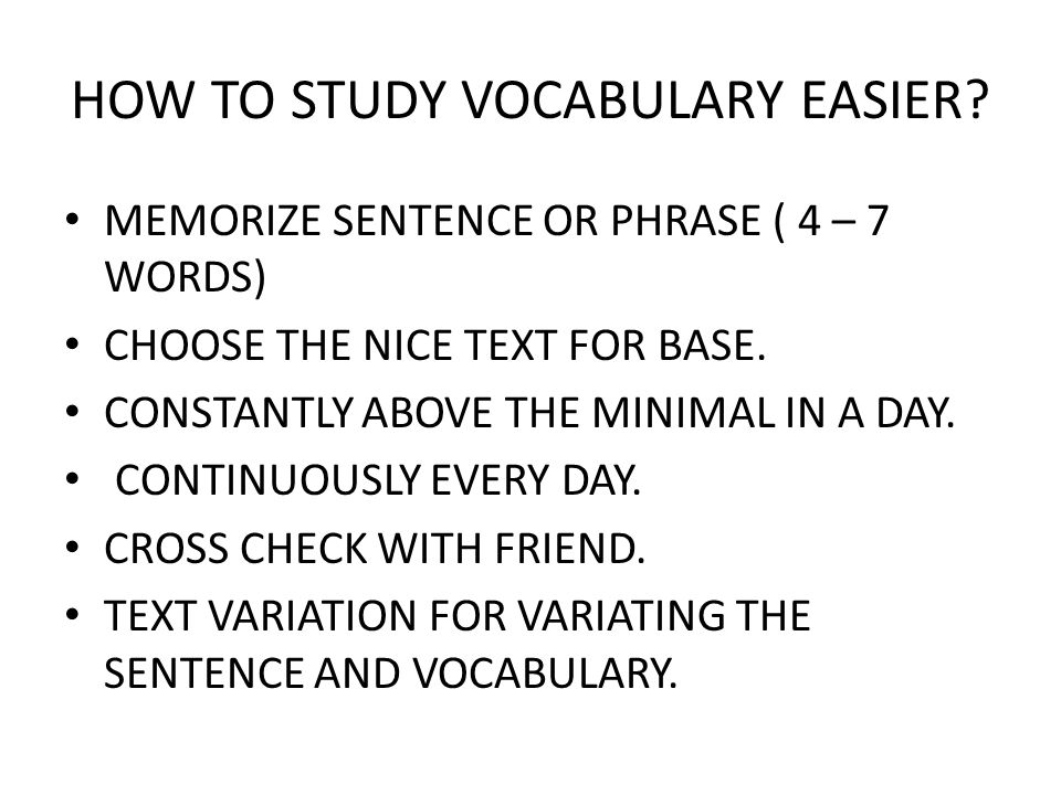 HOW TO STUDY VOCABULARY EASIER
