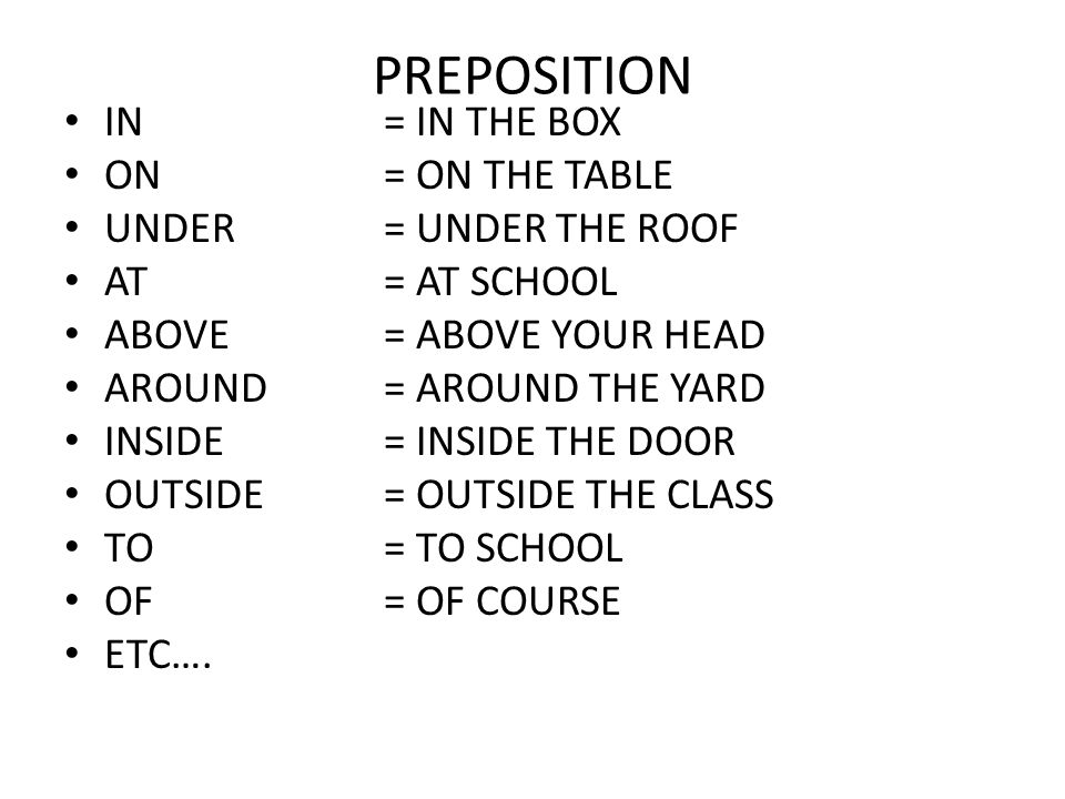 PREPOSITION IN = IN THE BOX ON = ON THE TABLE UNDER = UNDER THE ROOF