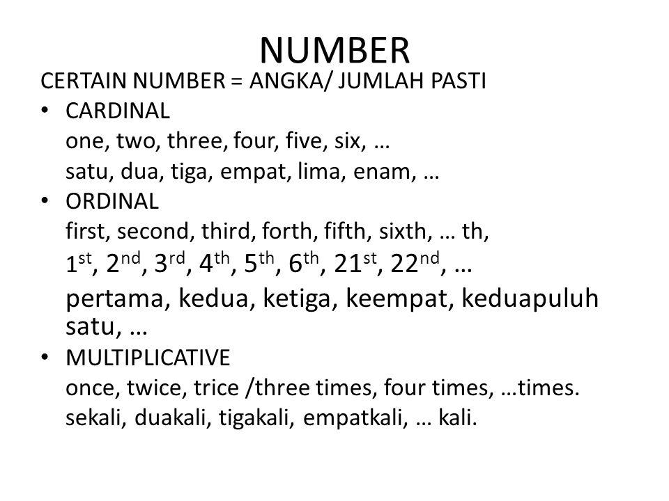 NUMBER pertama, kedua, ketiga, keempat, keduapuluh satu, …