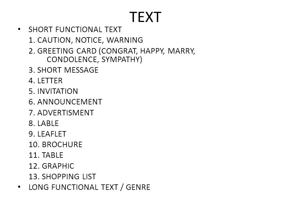 TEXT SHORT FUNCTIONAL TEXT 1. CAUTION, NOTICE, WARNING