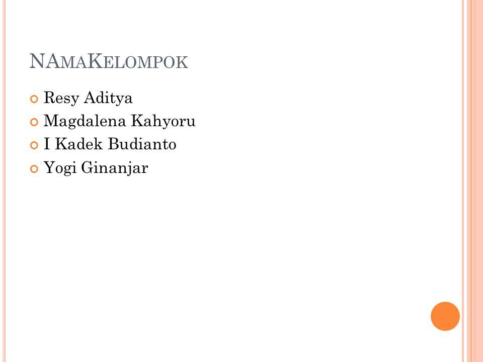 NAmaKelompok Resy Aditya Magdalena Kahyoru I Kadek Budianto