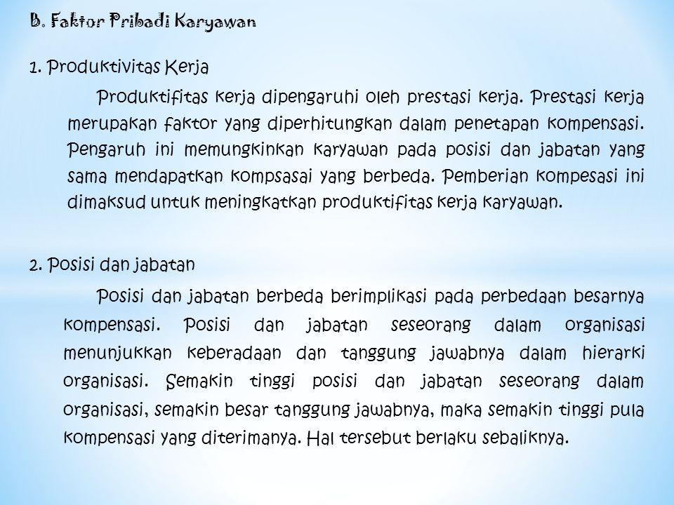 B. Faktor Pribadi Karyawan 1. Produktivitas Kerja