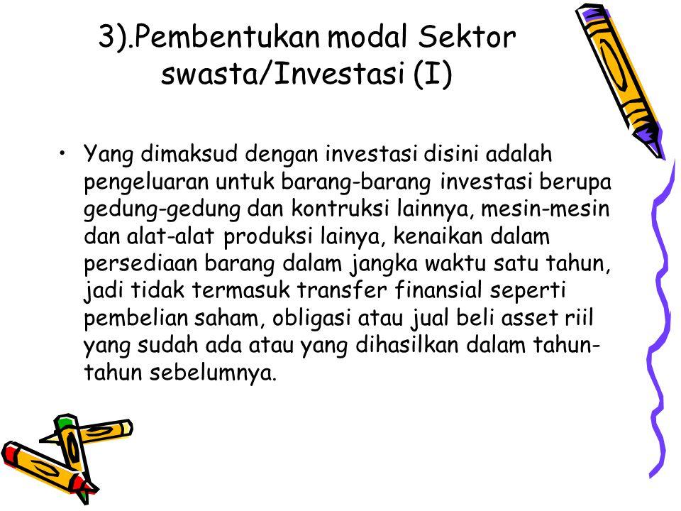 3).Pembentukan modal Sektor swasta/Investasi (I)