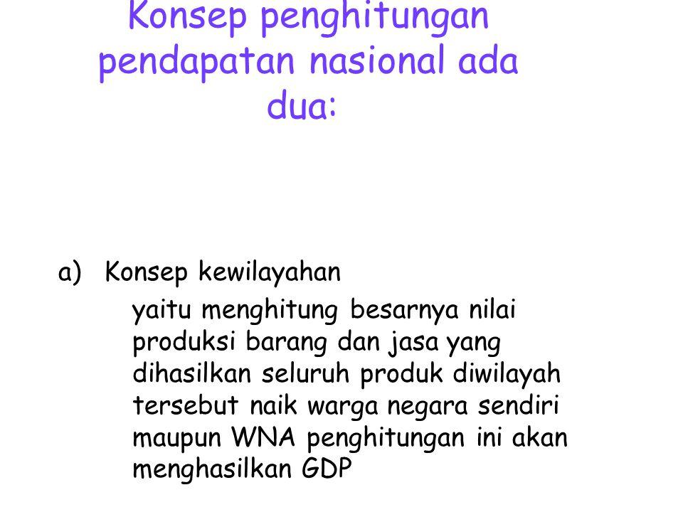 Konsep penghitungan pendapatan nasional ada dua: