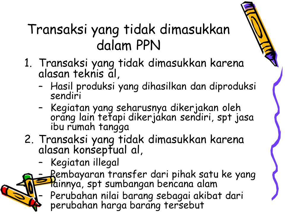Transaksi yang tidak dimasukkan dalam PPN