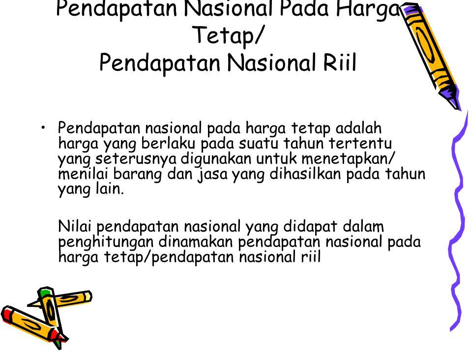 Pendapatan Nasional Pada Harga Tetap/ Pendapatan Nasional Riil