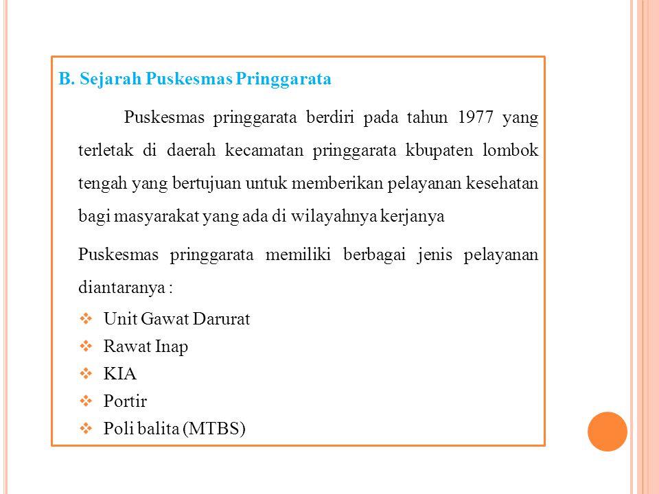 B. Sejarah Puskesmas Pringgarata
