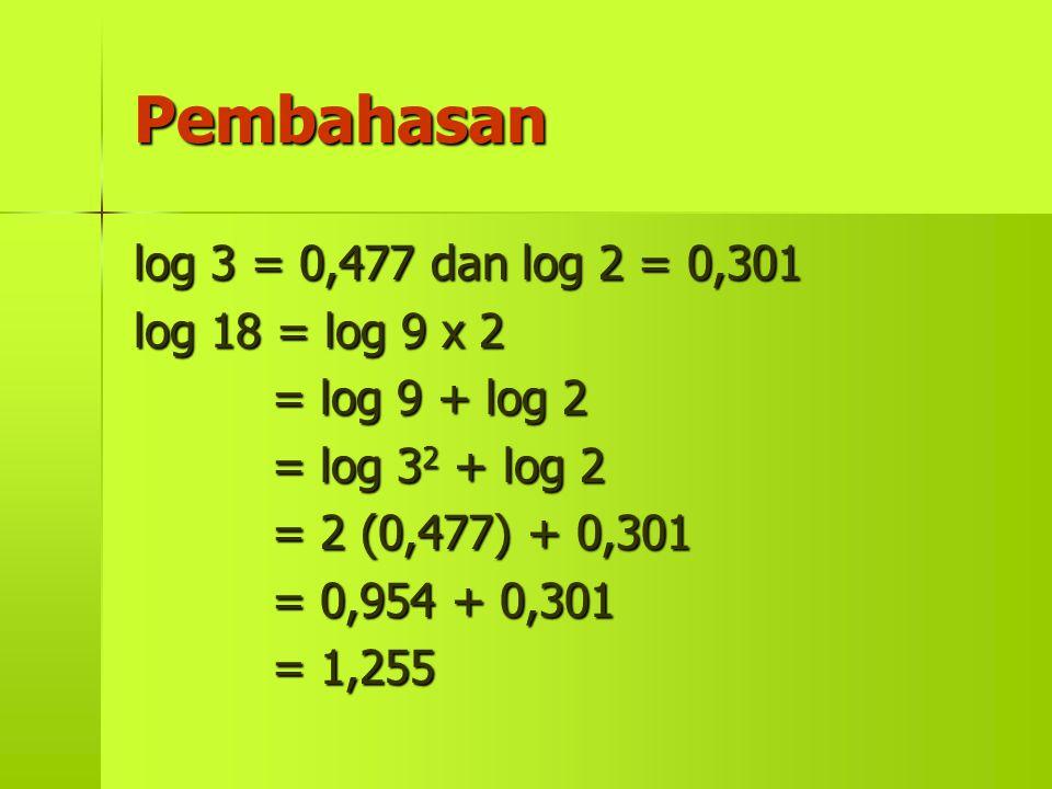 Pembahasan log 3 = 0,477 dan log 2 = 0,301 log 18 = log 9 x 2