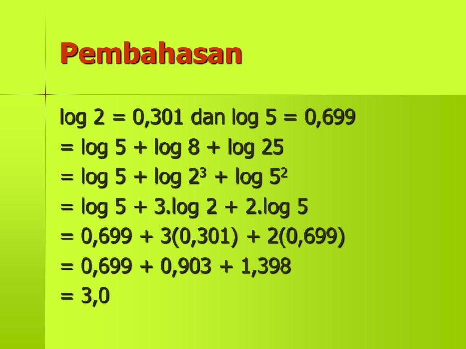 Pembahasan log 2 = 0,301 dan log 5 = 0,699 = log 5 + log 8 + log 25