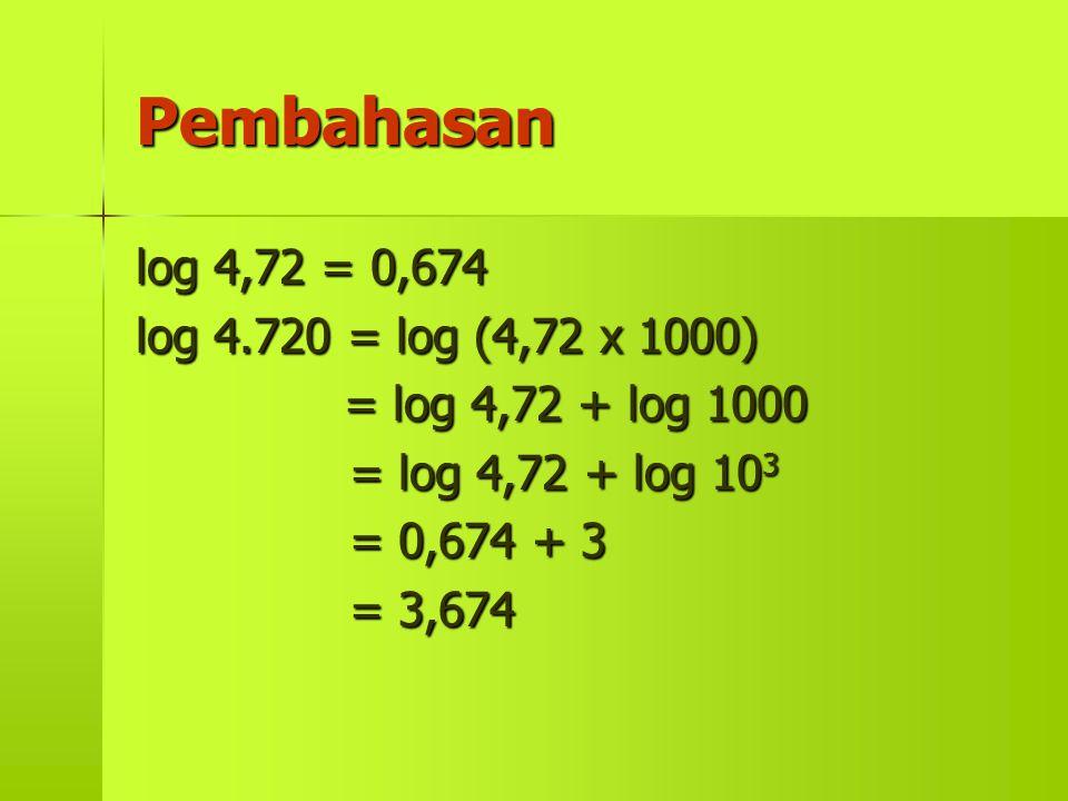 Pembahasan log 4,72 = 0,674 log 4.720 = log (4,72 x 1000)