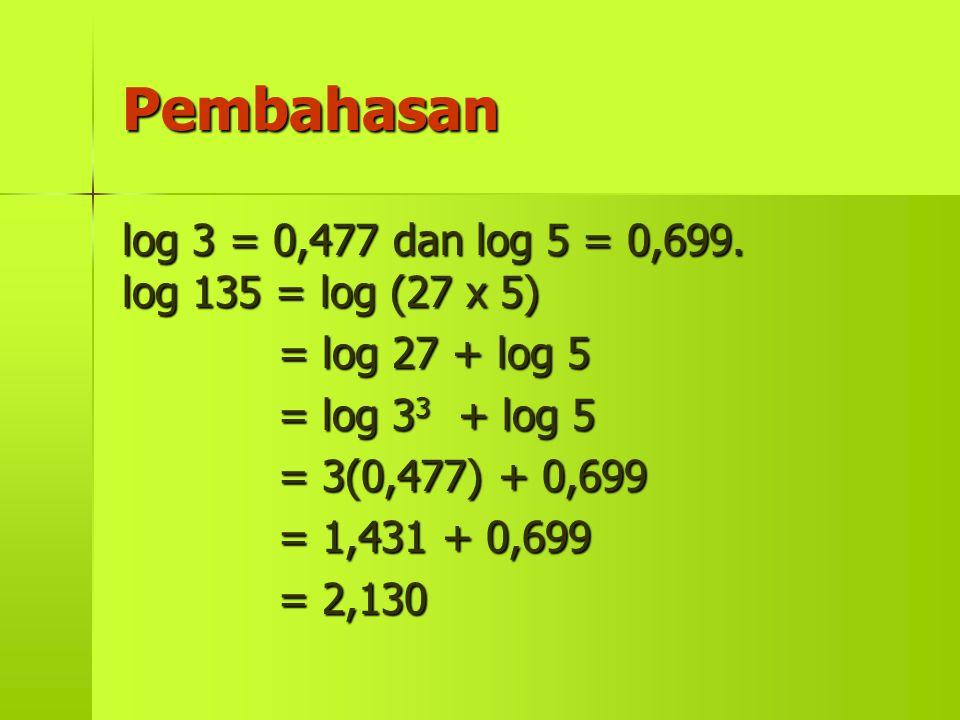 Pembahasan log 3 = 0,477 dan log 5 = 0,699. log 135 = log (27 x 5)