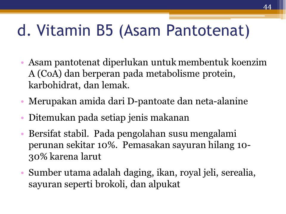 d. Vitamin B5 (Asam Pantotenat)