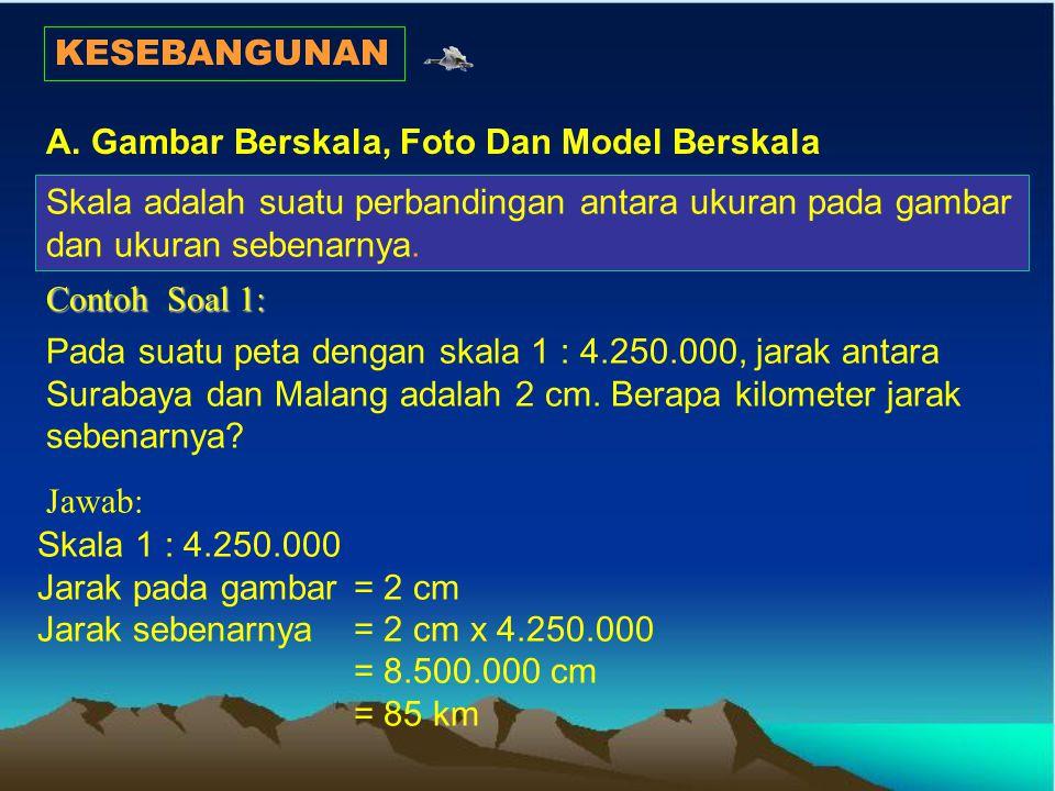 KESEBANGUNAN A. Gambar Berskala, Foto Dan Model Berskala. Skala adalah suatu perbandingan antara ukuran pada gambar dan ukuran sebenarnya.