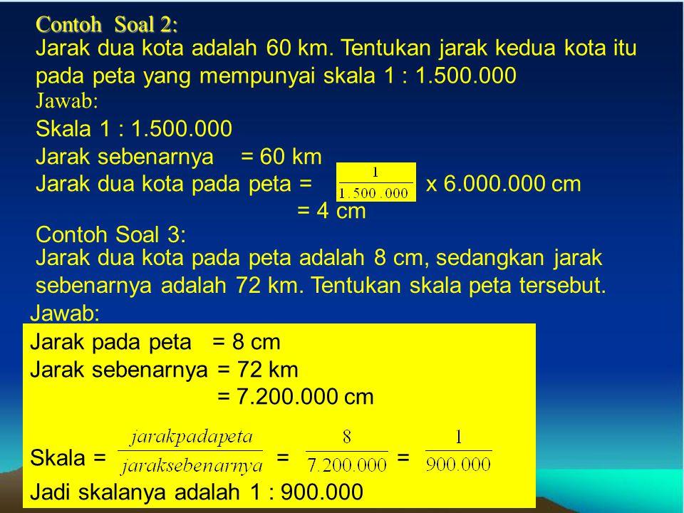 Contoh Soal 2: Jarak dua kota adalah 60 km. Tentukan jarak kedua kota itu pada peta yang mempunyai skala 1 : 1.500.000.