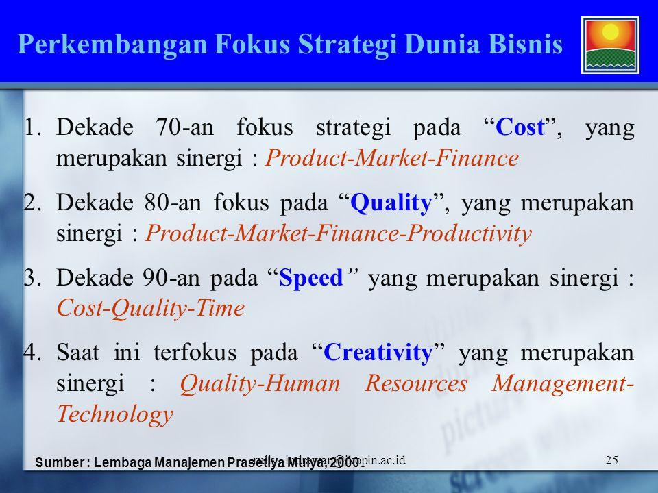 Perkembangan Fokus Strategi Dunia Bisnis