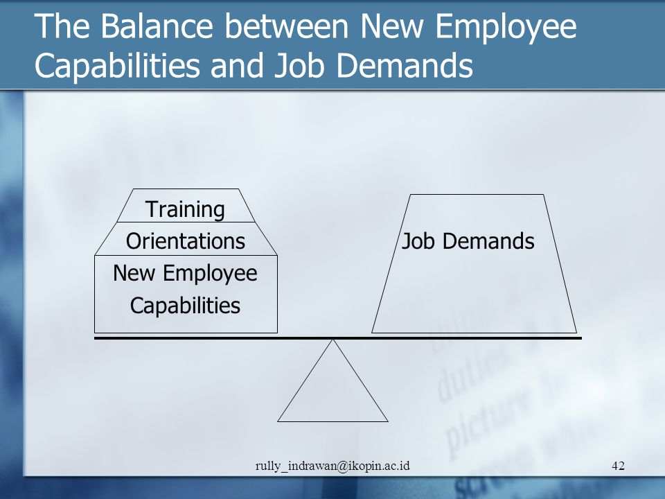 The Balance between New Employee Capabilities and Job Demands