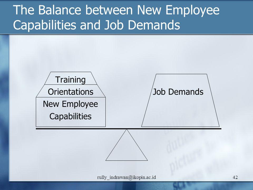 The Balance between New Employee Capabilities and Job Demands