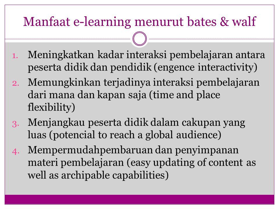 Manfaat e-learning menurut bates & walf