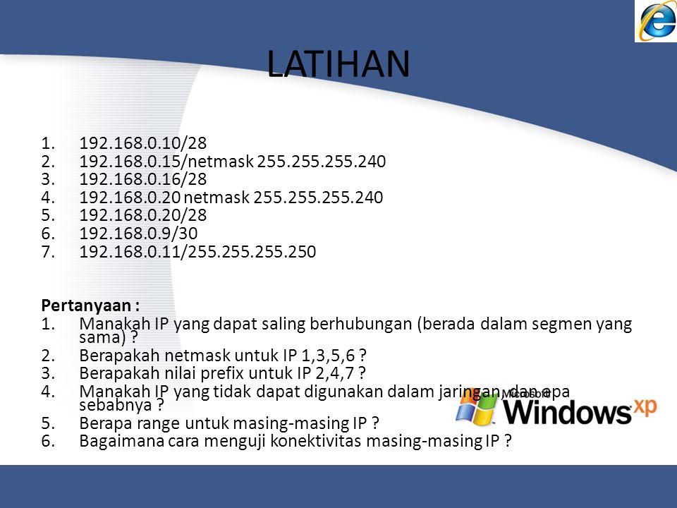 LATIHAN 192.168.0.10/28. 192.168.0.15/netmask 255.255.255.240. 192.168.0.16/28. 192.168.0.20 netmask 255.255.255.240.