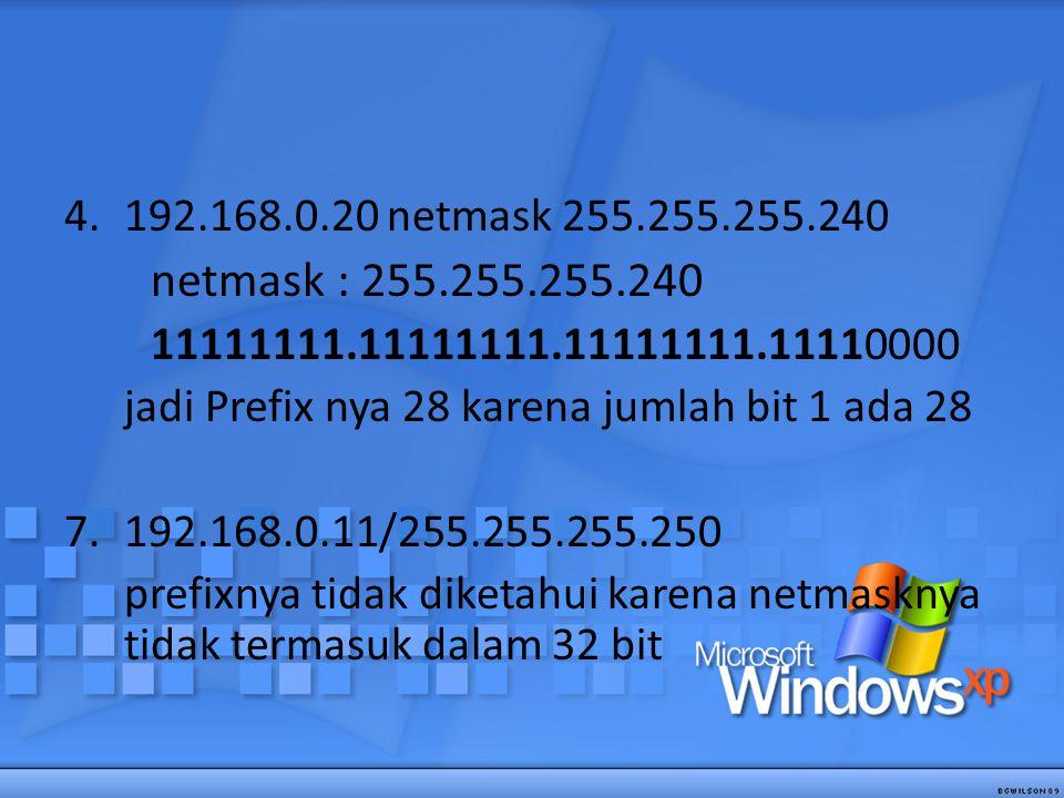192.168.0.20 netmask 255.255.255.240 netmask : 255.255.255.240. 11111111.11111111.11111111.11110000.