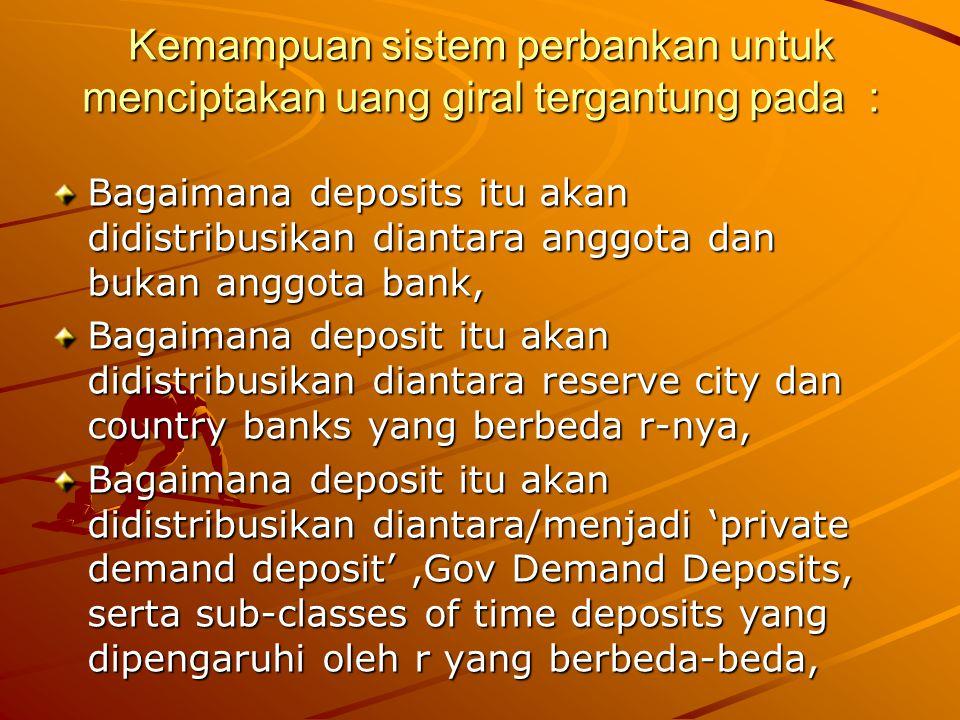 Kemampuan sistem perbankan untuk menciptakan uang giral tergantung pada :