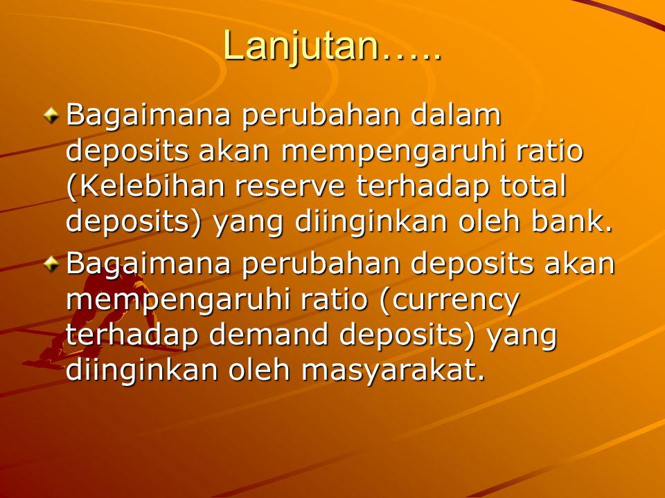 Lanjutan….. Bagaimana perubahan dalam deposits akan mempengaruhi ratio (Kelebihan reserve terhadap total deposits) yang diinginkan oleh bank.