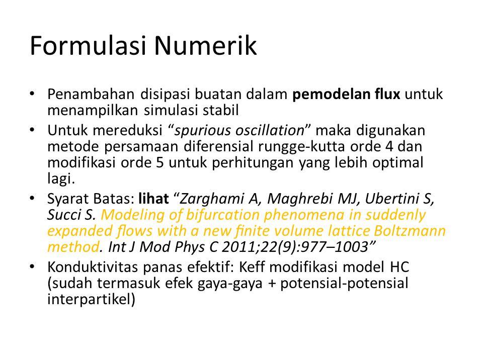 Formulasi Numerik Penambahan disipasi buatan dalam pemodelan flux untuk menampilkan simulasi stabil.