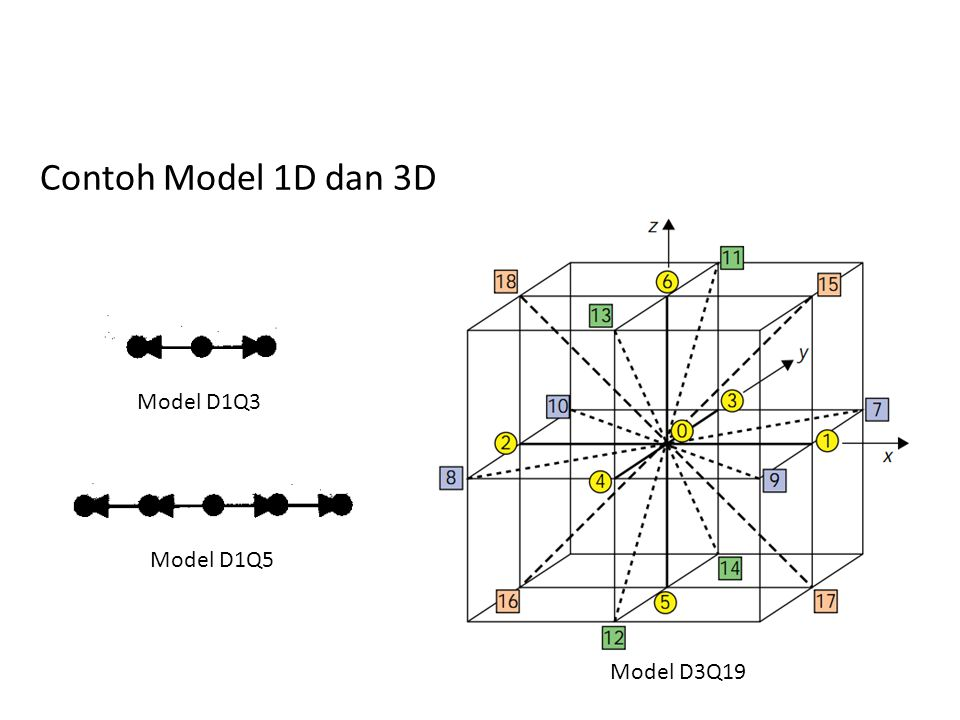 Contoh Model 1D dan 3D Model D1Q3 Model D1Q5 Model D3Q19