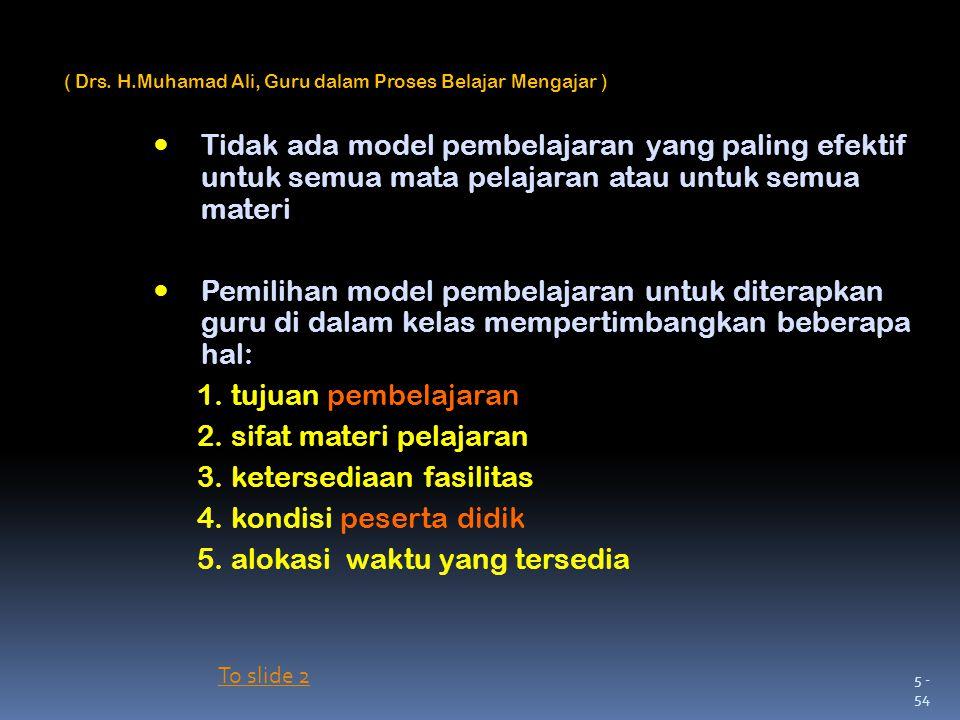 2. sifat materi pelajaran 3. ketersediaan fasilitas
