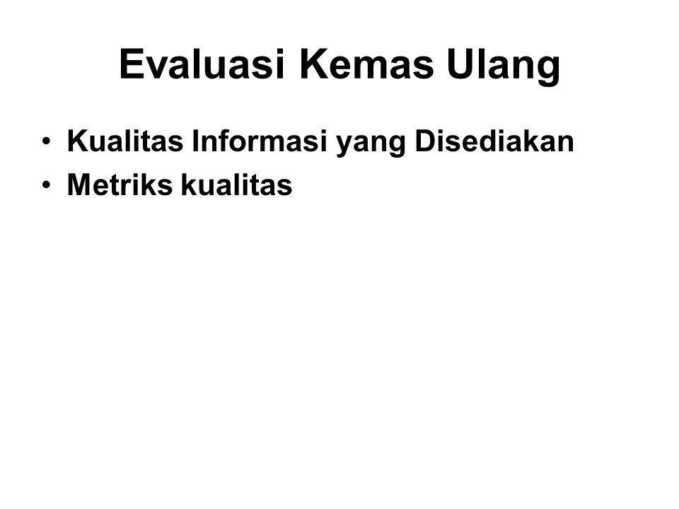 Evaluasi Kemas Ulang Kualitas Informasi yang Disediakan