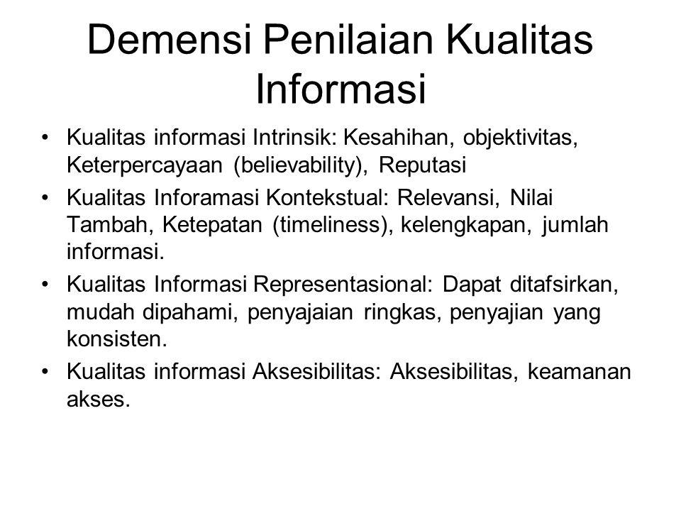Demensi Penilaian Kualitas Informasi