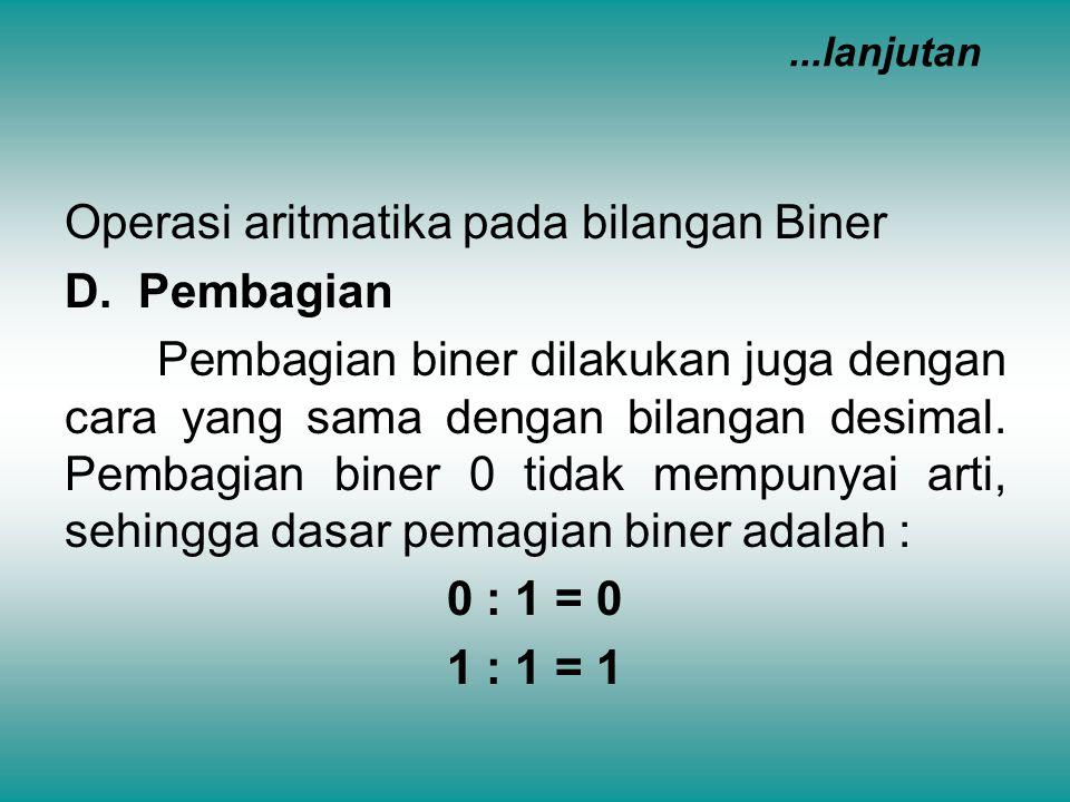 Operasi aritmatika pada bilangan Biner D. Pembagian