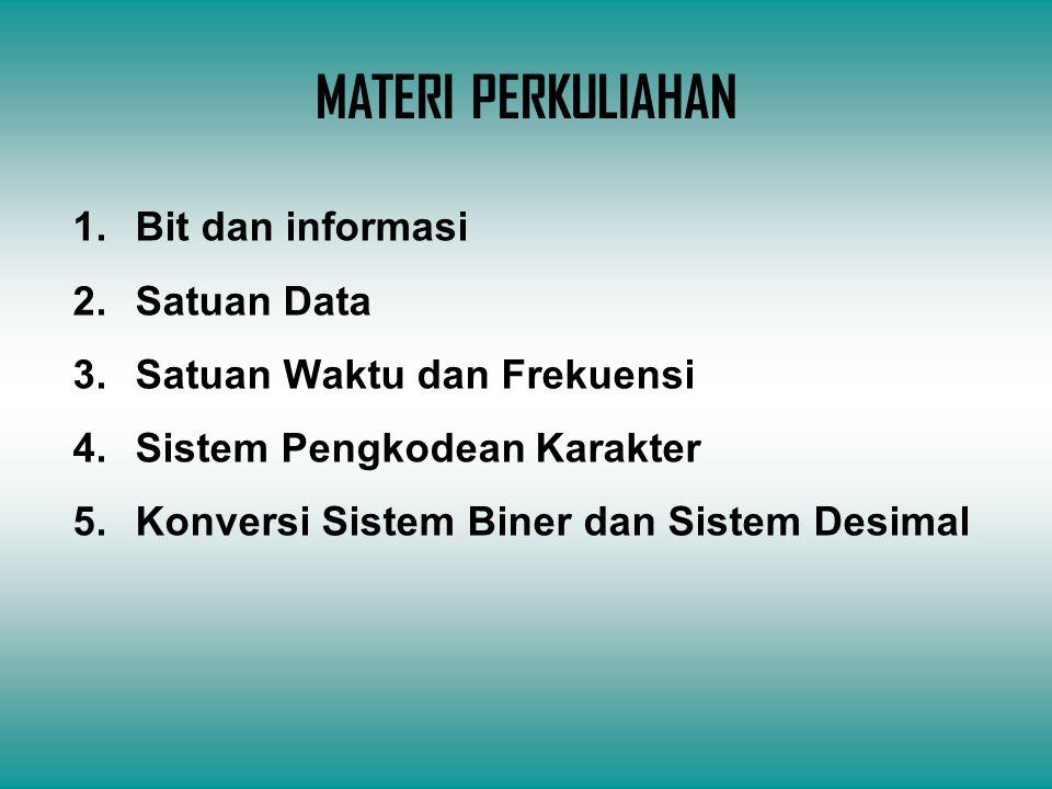 MATERI PERKULIAHAN Bit dan informasi Satuan Data