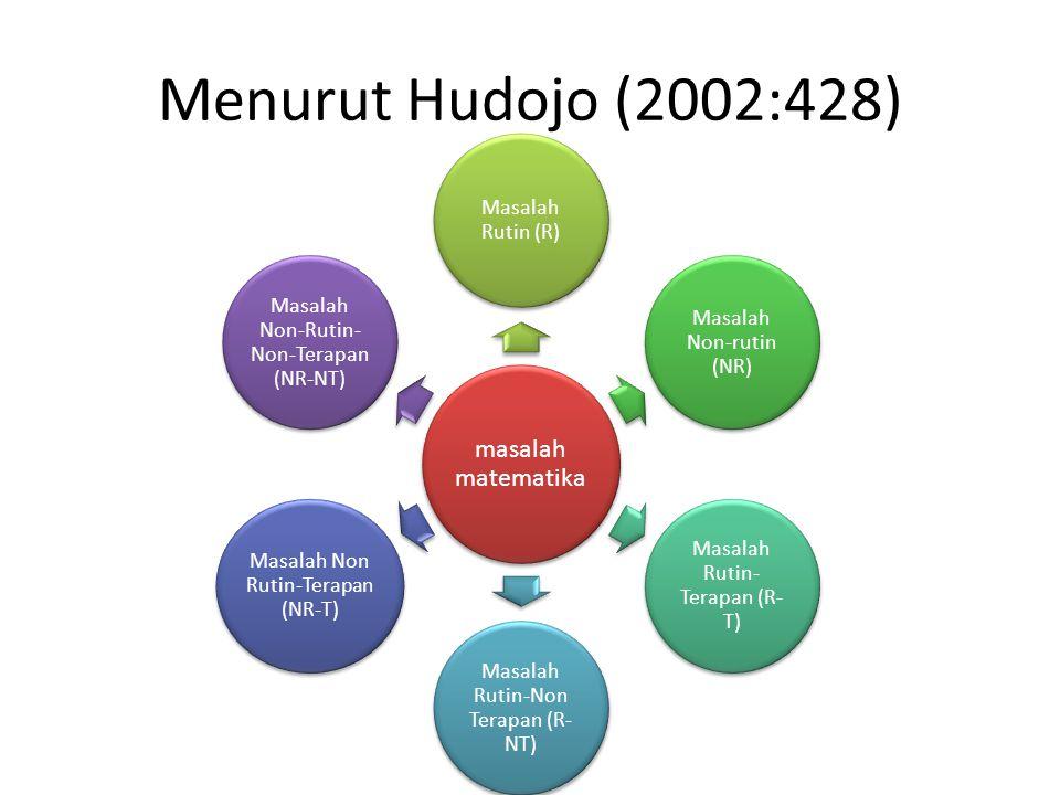Menurut Hudojo (2002:428) masalah matematika Masalah Rutin (R)