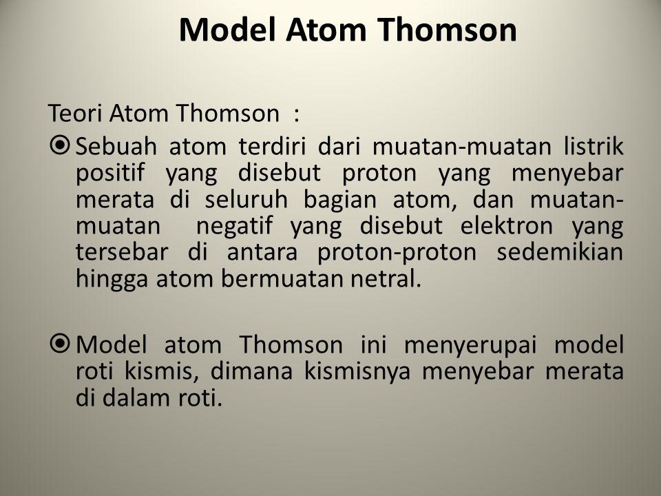 Model Atom Thomson Teori Atom Thomson :