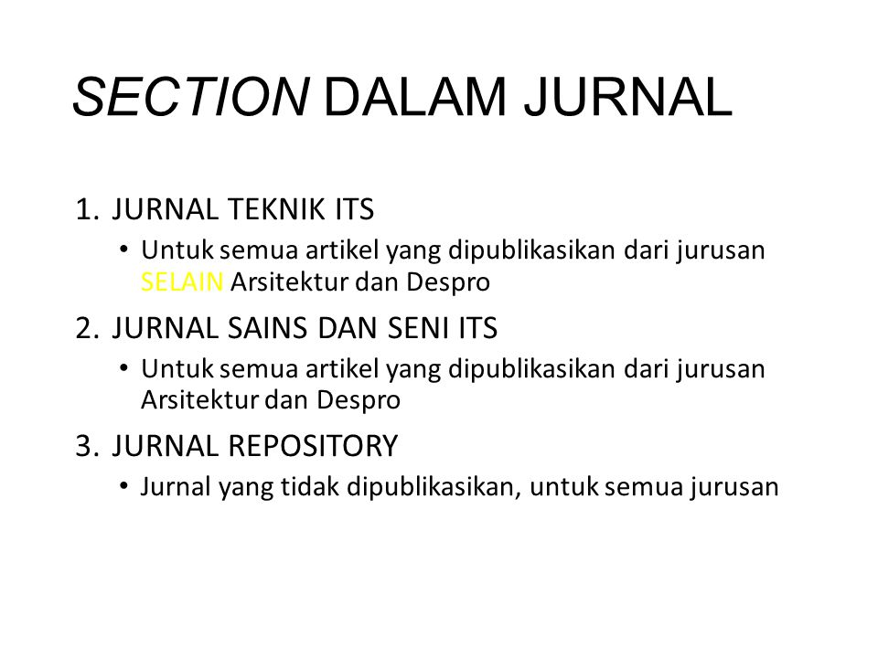 SECTION DALAM JURNAL JURNAL TEKNIK ITS JURNAL SAINS DAN SENI ITS