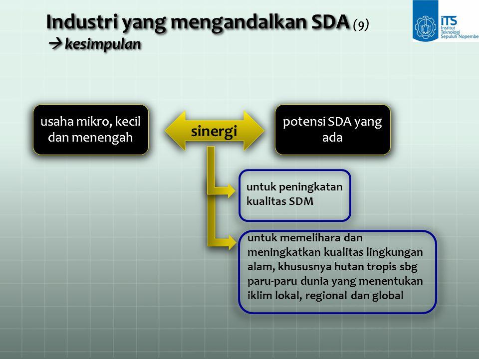 Industri yang mengandalkan SDA (9)  kesimpulan