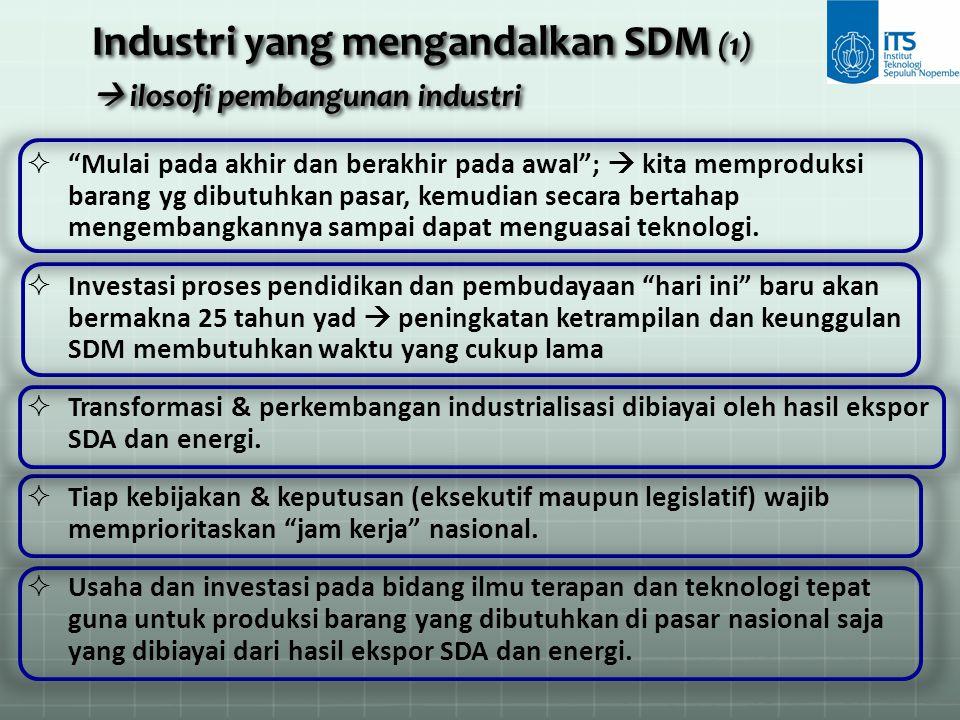 Industri yang mengandalkan SDM (1)  ilosofi pembangunan industri