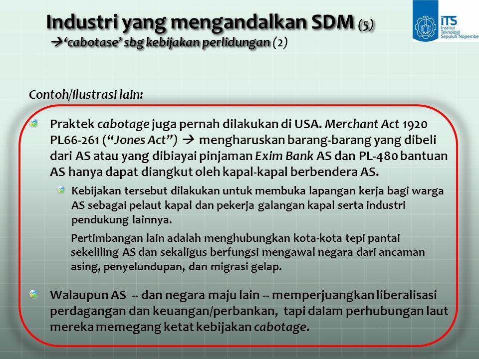 Industri yang mengandalkan SDM (5)  'cabotase' sbg kebijakan perlidungan (2)