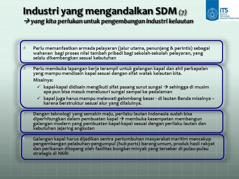 Industri yang mengandalkan SDM (7)  yang kita perlukan untuk pengembangan industri kelautan