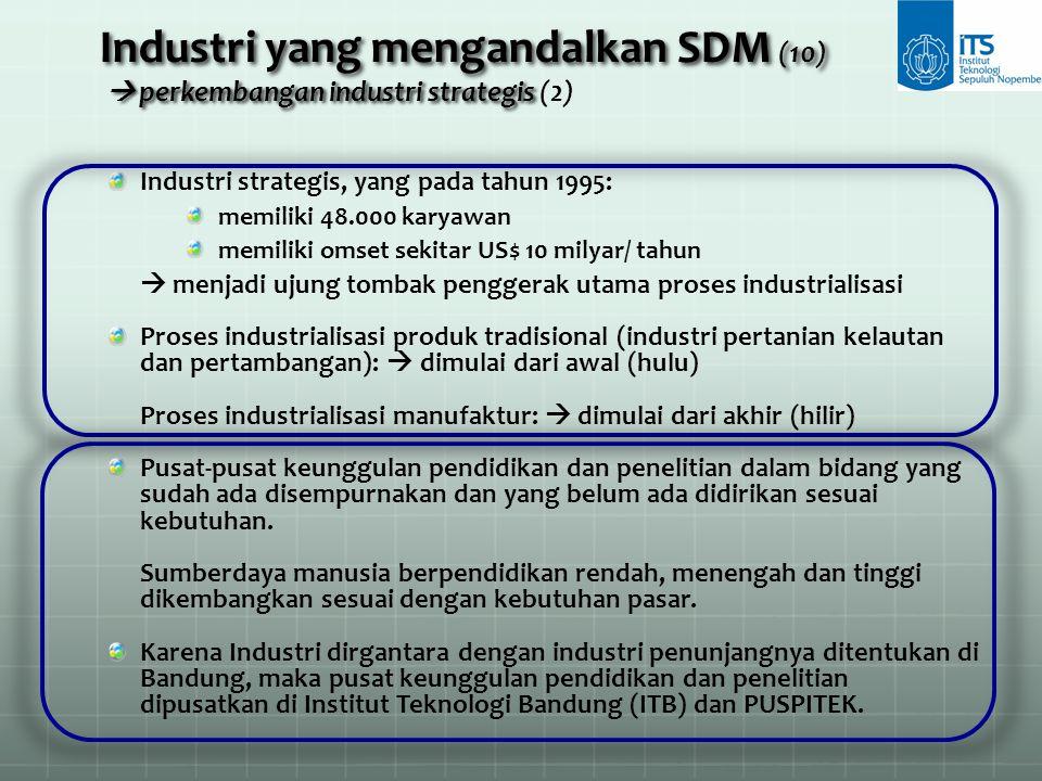 Industri yang mengandalkan SDM (10)  perkembangan industri strategis (2)