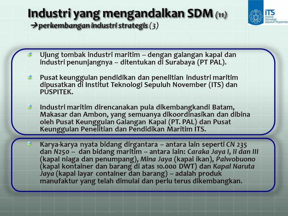 Industri yang mengandalkan SDM (11)  perkembangan industri strategis (3)